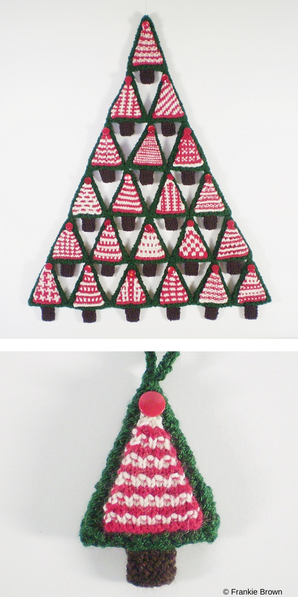 Triangle Geometric Christmas Tree Knitting pattern on white background