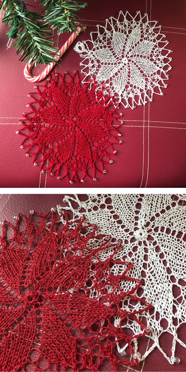 Two White and Red lace Knitting mug pad on the table