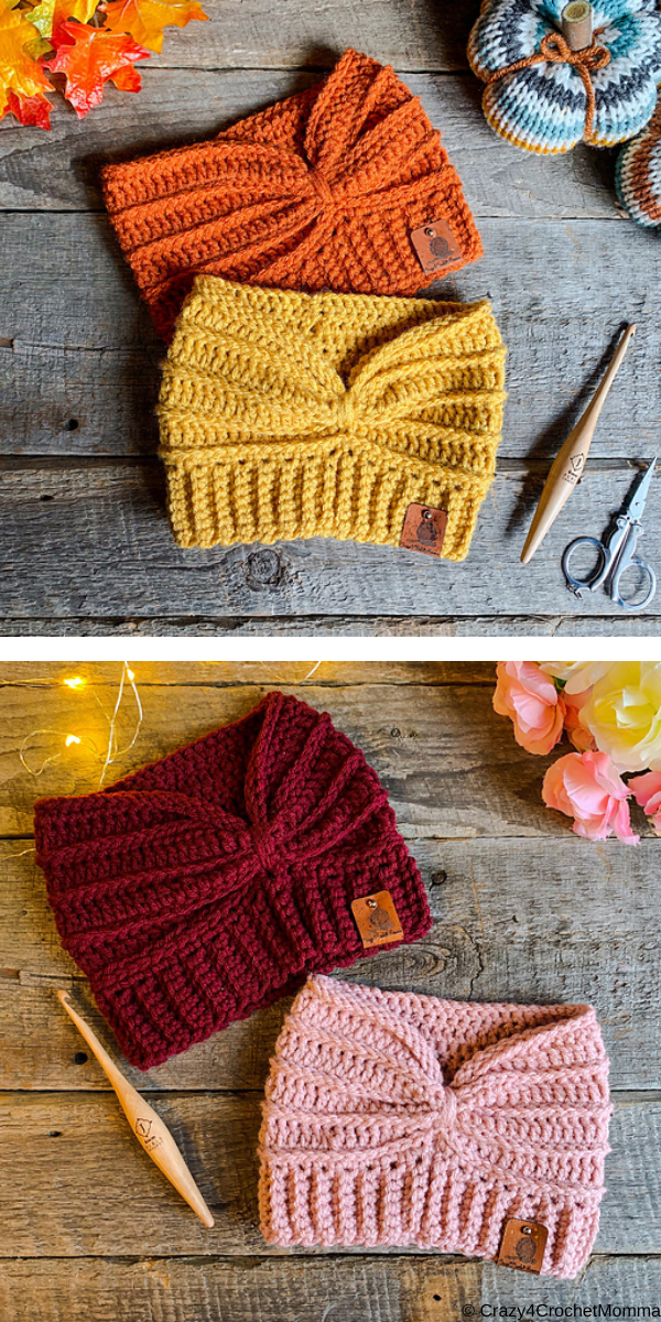 Autumn headband yellow orange burgundy and pink earwarmer