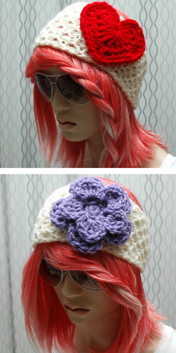 women in white headband heart and flower