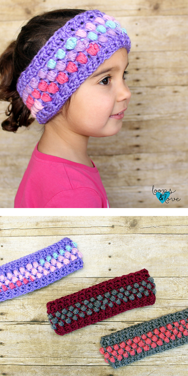 Girl with purple headband and three colorful headband