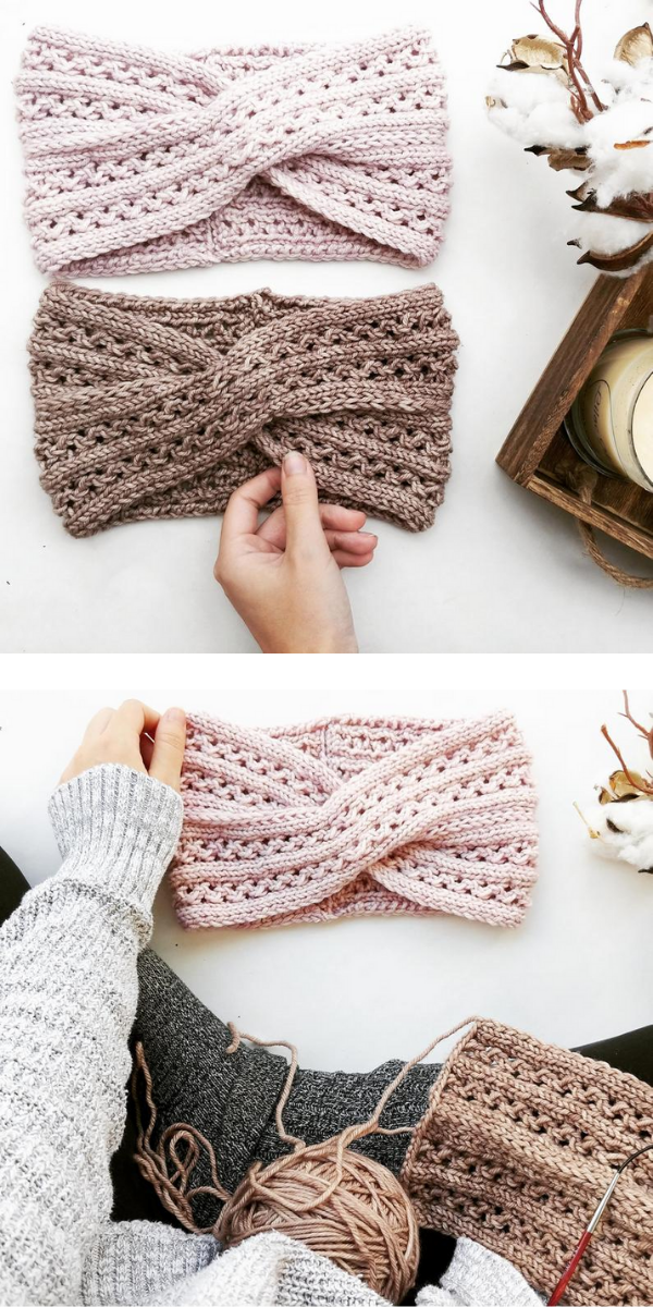Beige knited earwarmers on the light background