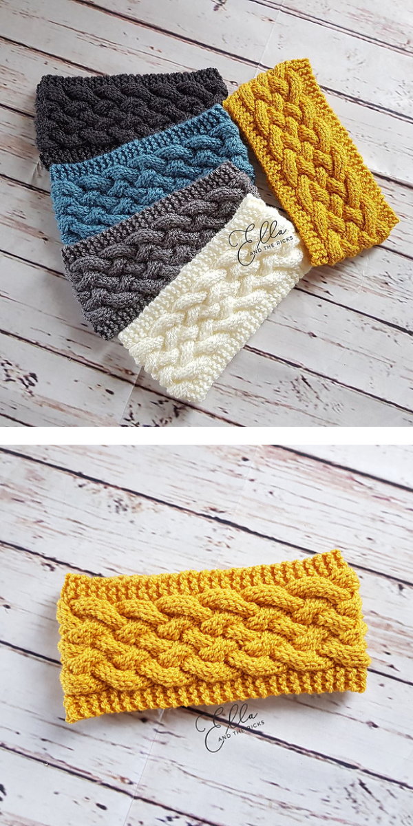 Lying headband colorful and yellow earwarmer