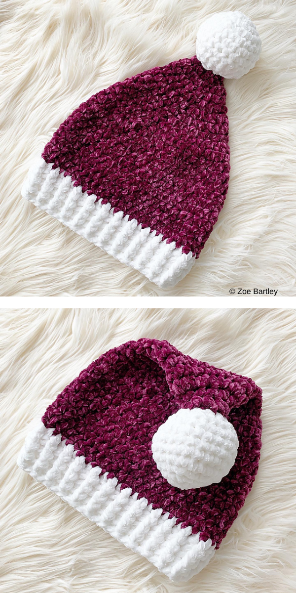 velvet christmas hat with pompon