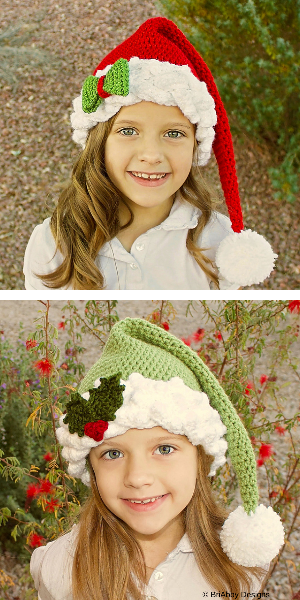 Girl with christmas hat with pompon
