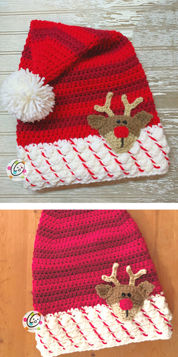 Red christmas hat with reindeer