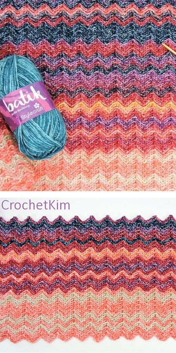 Ripple red purple and orange crochet pattern
