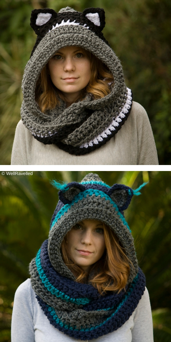 Hooded Scarf with Cat Ears free crochet pattern