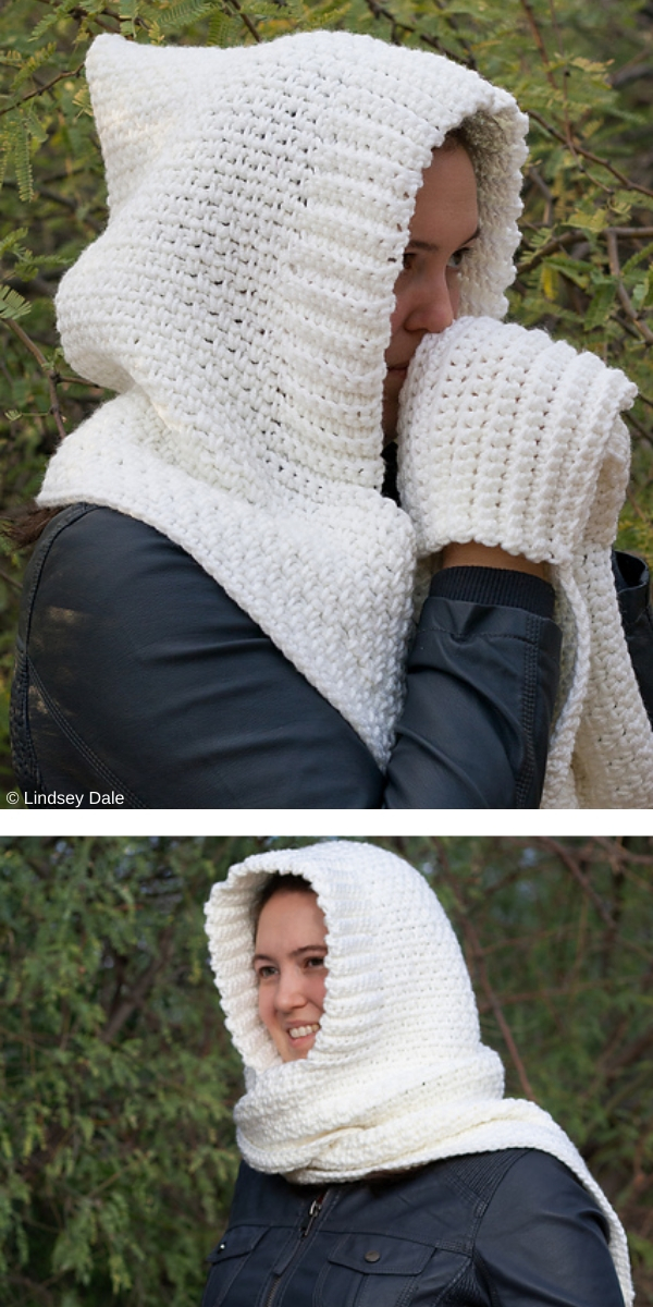 Woodland Hooded Scarf with Pockets free crochet pattern