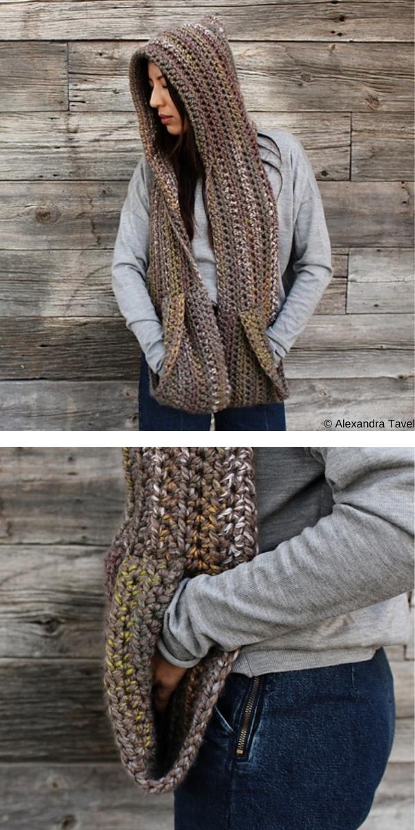 Kodiak Hooded Pocket Scarf free crochet pattern