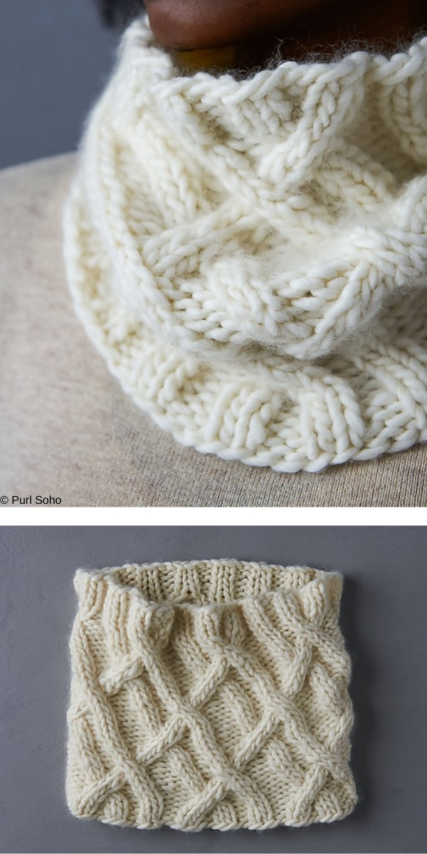 Wandering Cable Cowl free knitting pattern
