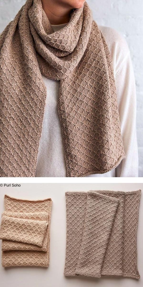 Trellis Scarf + Wrap free knitting pattern