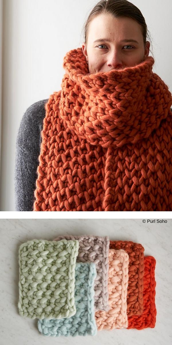 Lattice Brioche Scarf free knitting pattern