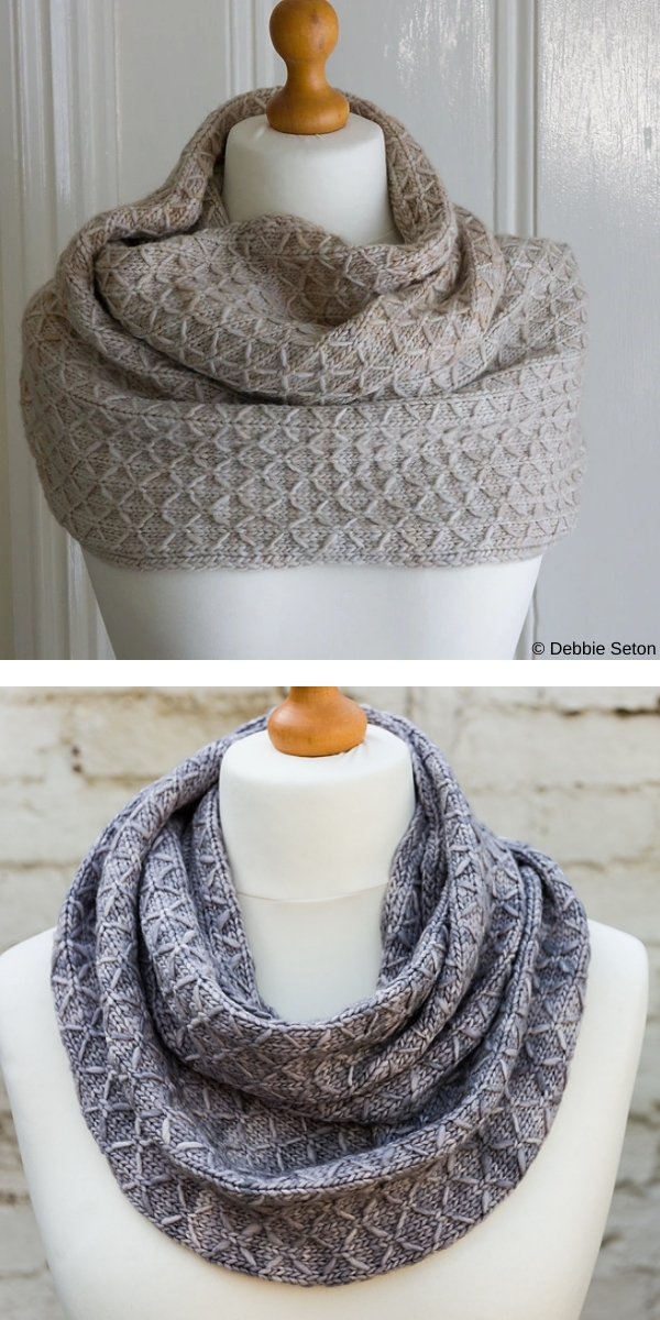 Quilted Lattice Cowl free knitting pattern
