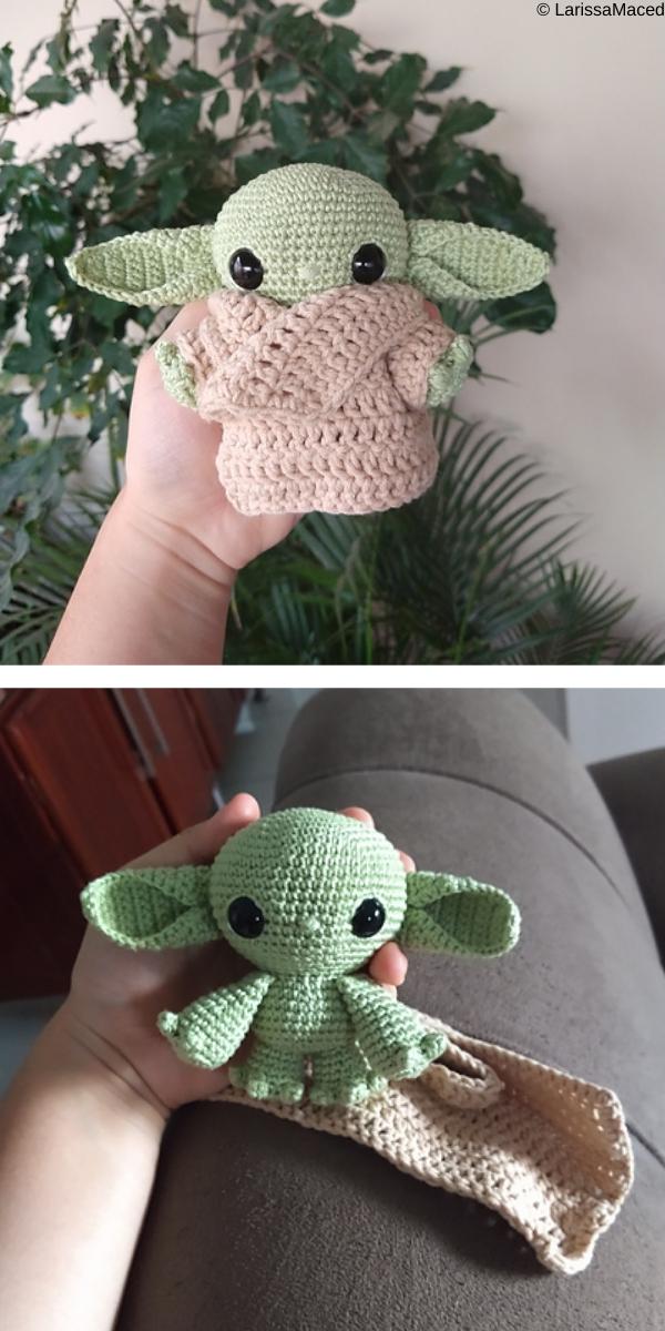 crochet green amigurumi baby yoda