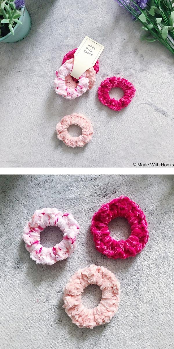 Super Quick & Easy Velvet Scrunchies free crochet pattern