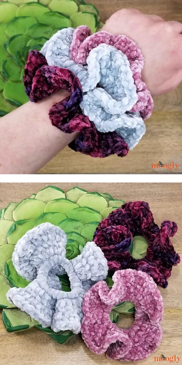Hyperbolic Velvet Scrunchies free crochet pattern