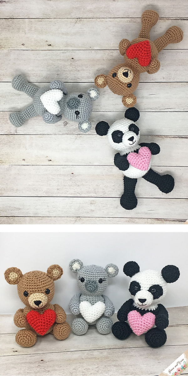 Valentine Bear, Panda and Koala free crochet pattern