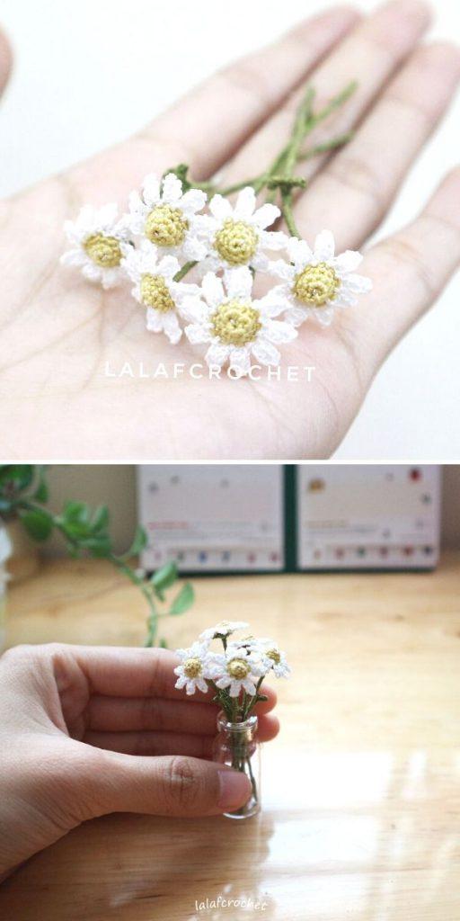 1:6th Scale Daisy flowers Free Crochet Pattern
