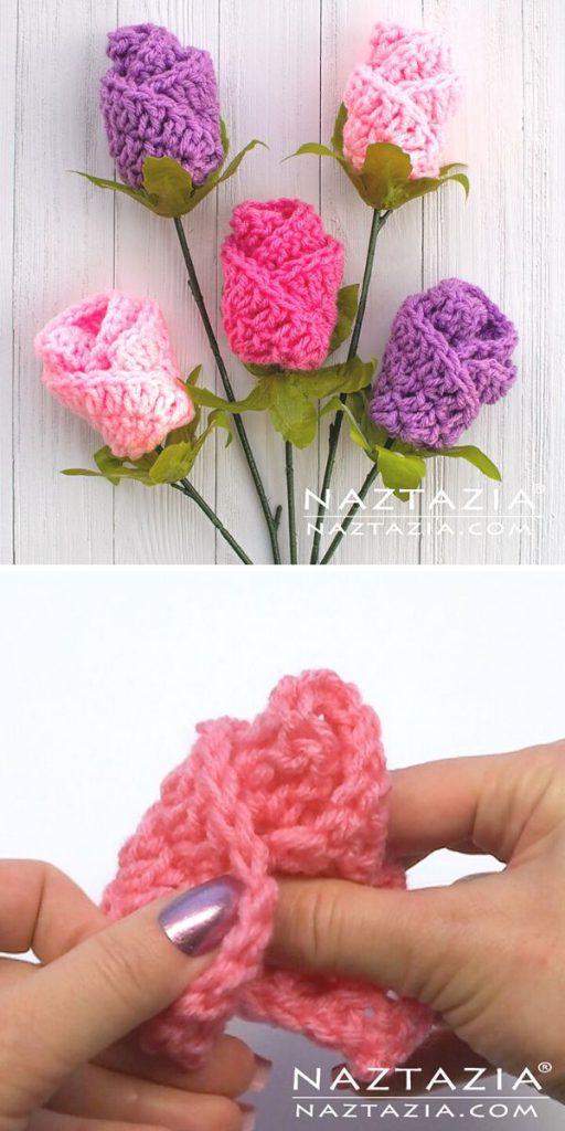 Simple Origami Rose Free Crochet Pattern