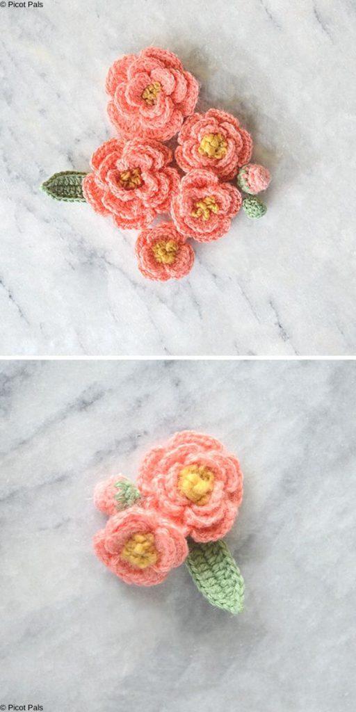 Tiny Peony flowers Free Crochet Pattern