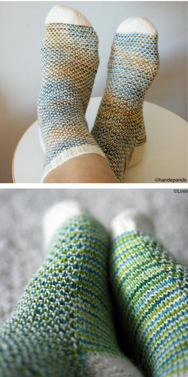 Broken Seed Stitch Socks free knitting pattern