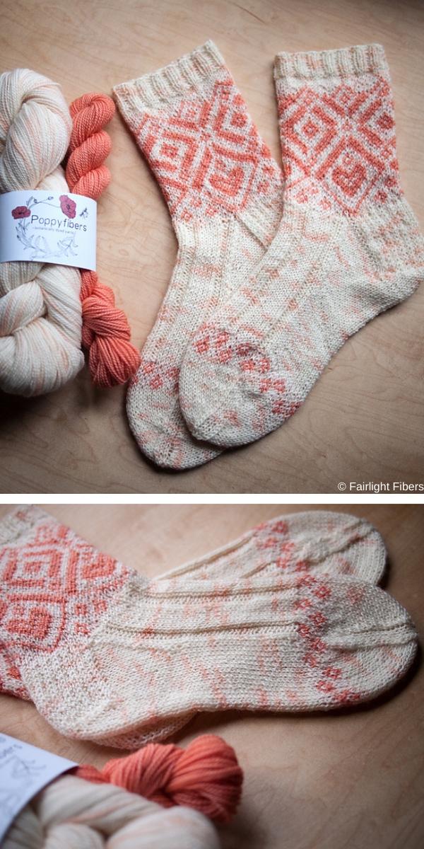Golden Garden Socks free knitting pattern
