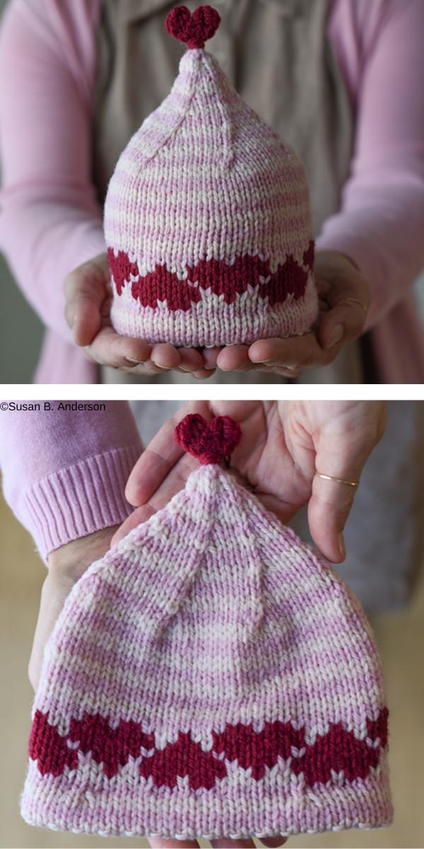 Love & Hearts Hat Free Knitting Pattern