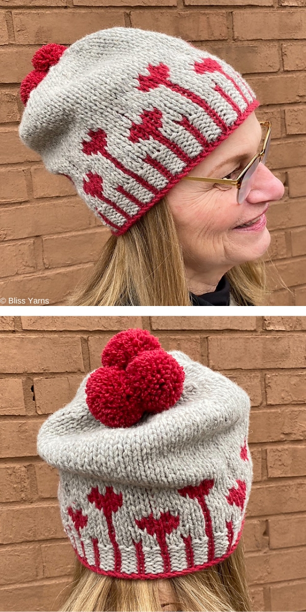 Blooming Hearts Hat Free Knitting Pattern