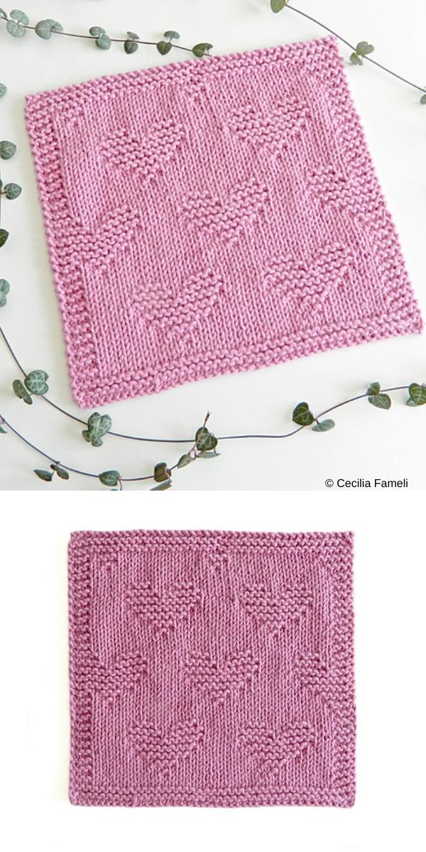 Valentines Dishcloth free knitting pattern