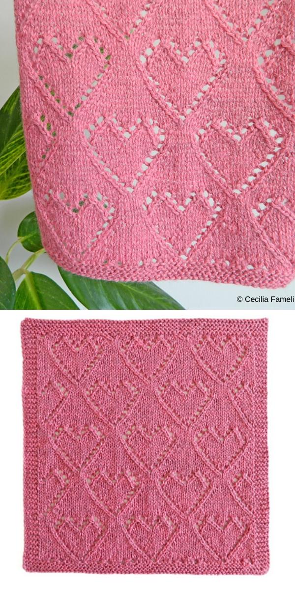 Lace Heart Dishcloth free knitting pattern