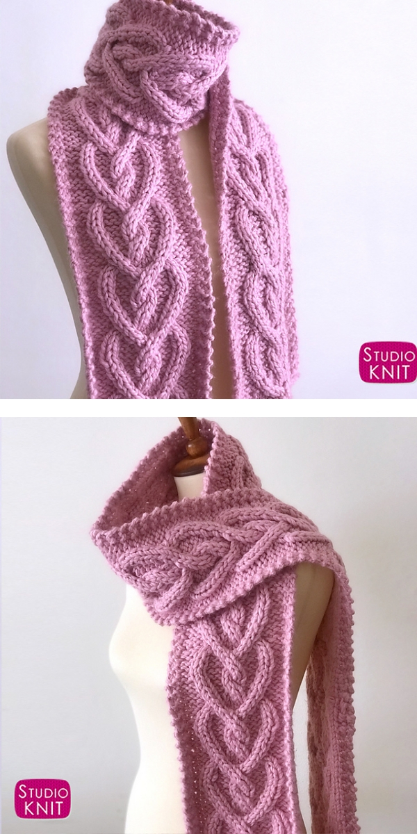 Heart Cable Knit Scarf free knitting pattern