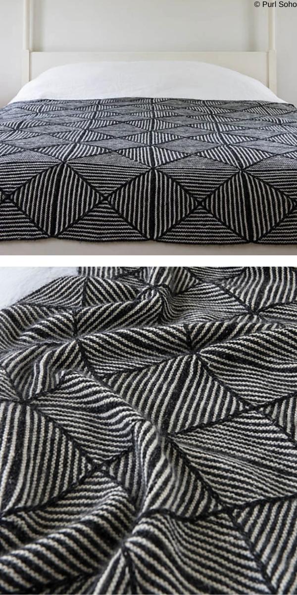 Optic blanket Free Knitting Pattern