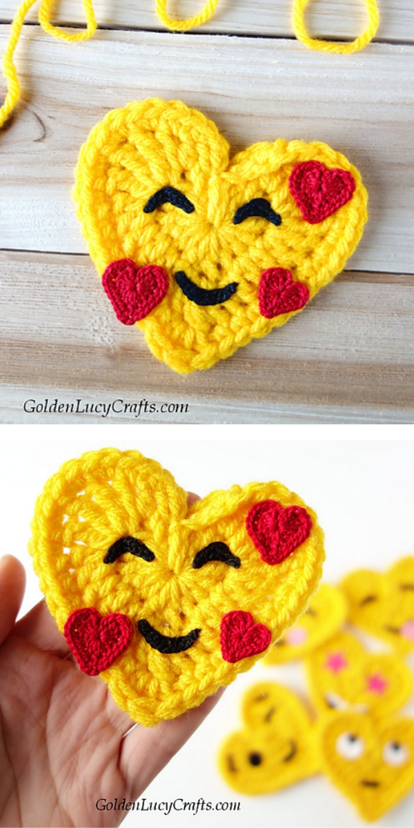 Smiling Face With Hearts Emoji free crochet pattern