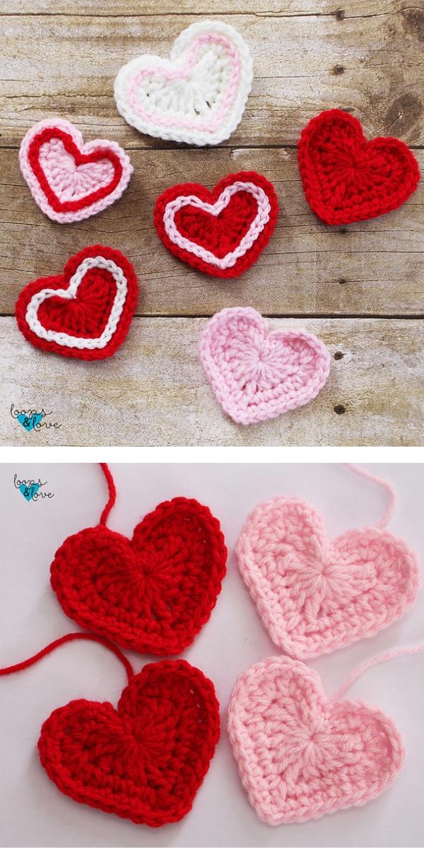 Easy hearts Free crochet pattern