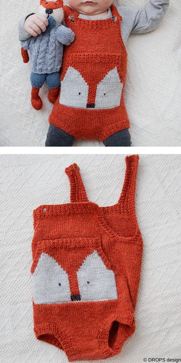 Baby Fox Onesie Free Knitting Pattern