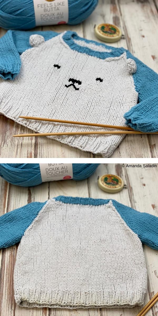 Polar Bear Raglan Free Knitting Pattern
