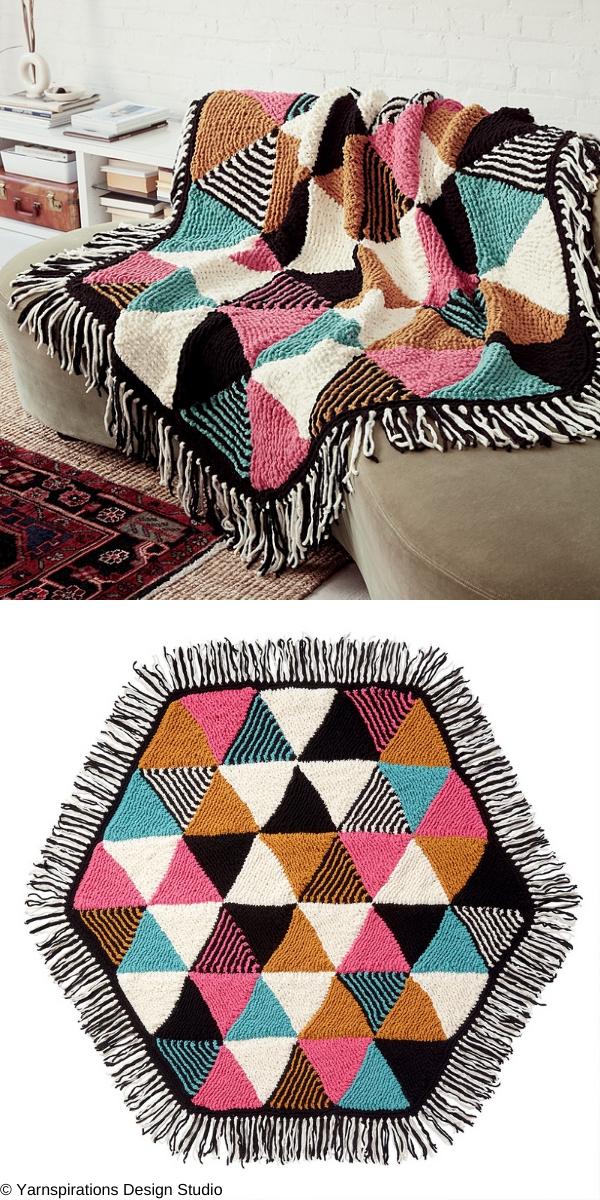 Bernat Knit Triangles Hexagon Blanket Free Knitting Pattern