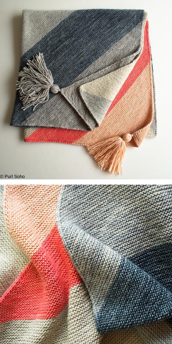 Colorblock Bias Blanket Free Knitting Pattern