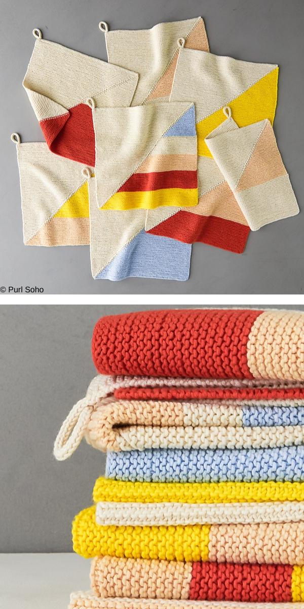 Colorful Half + Half Washcloths Free Knitting Pattern