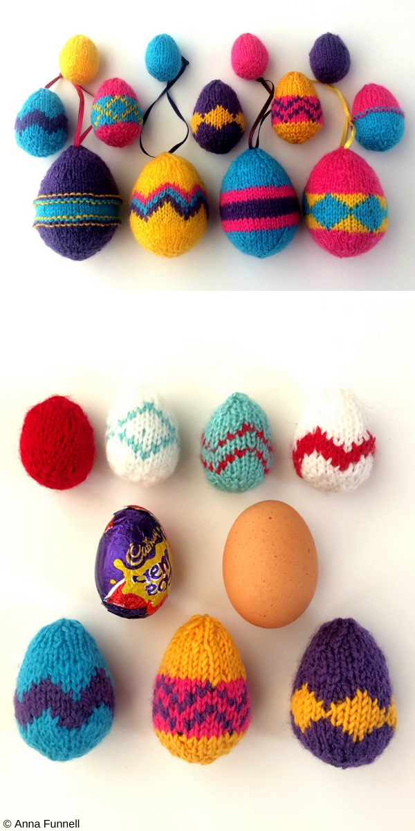 Patterned Easter Egg Decorations Free Knitting Pattern