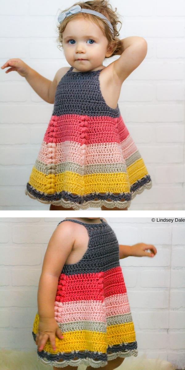 Puff Stitch Toddler Dress Free Crochet Pattern