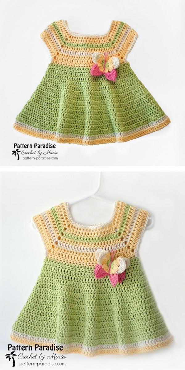 Butterfly Kisses Baby Dress Free Crochet Pattern