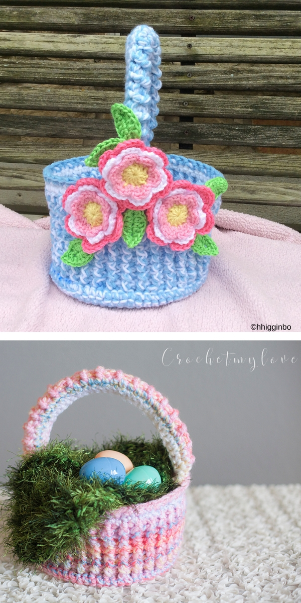Easter Basket and Grass Set Free Crochet Pattern