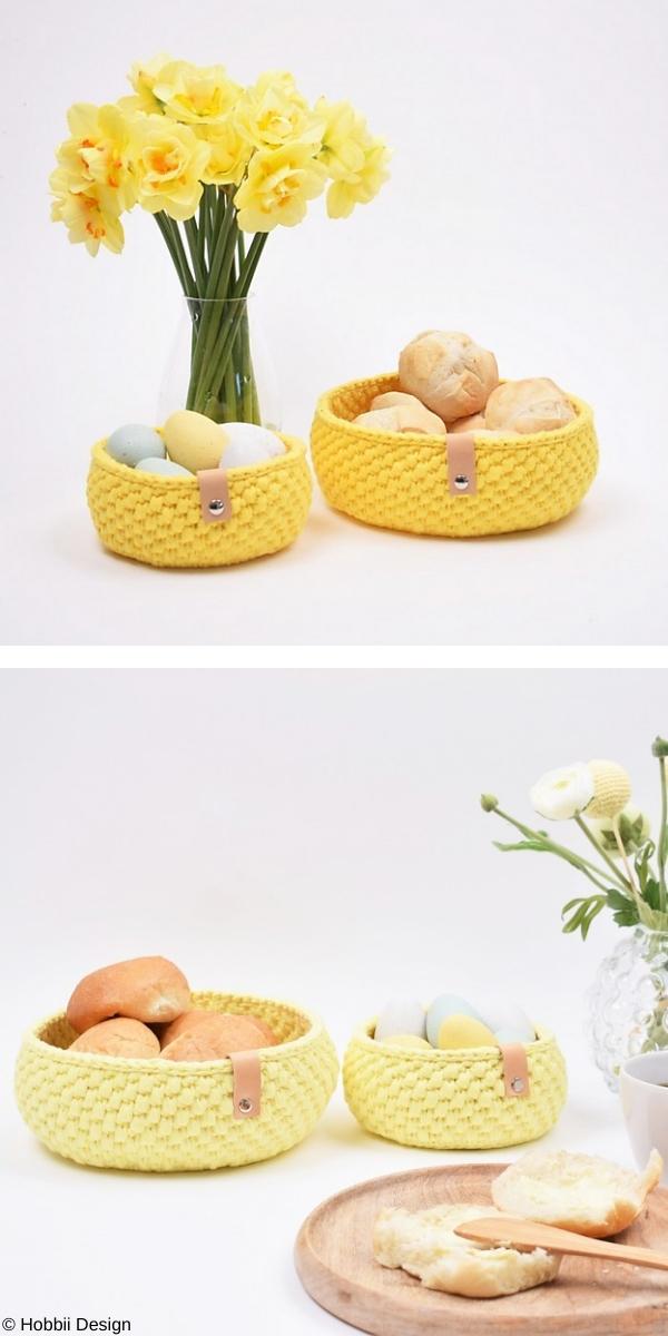 Ribbon Easter Bread Basket Free Crochet Pattern