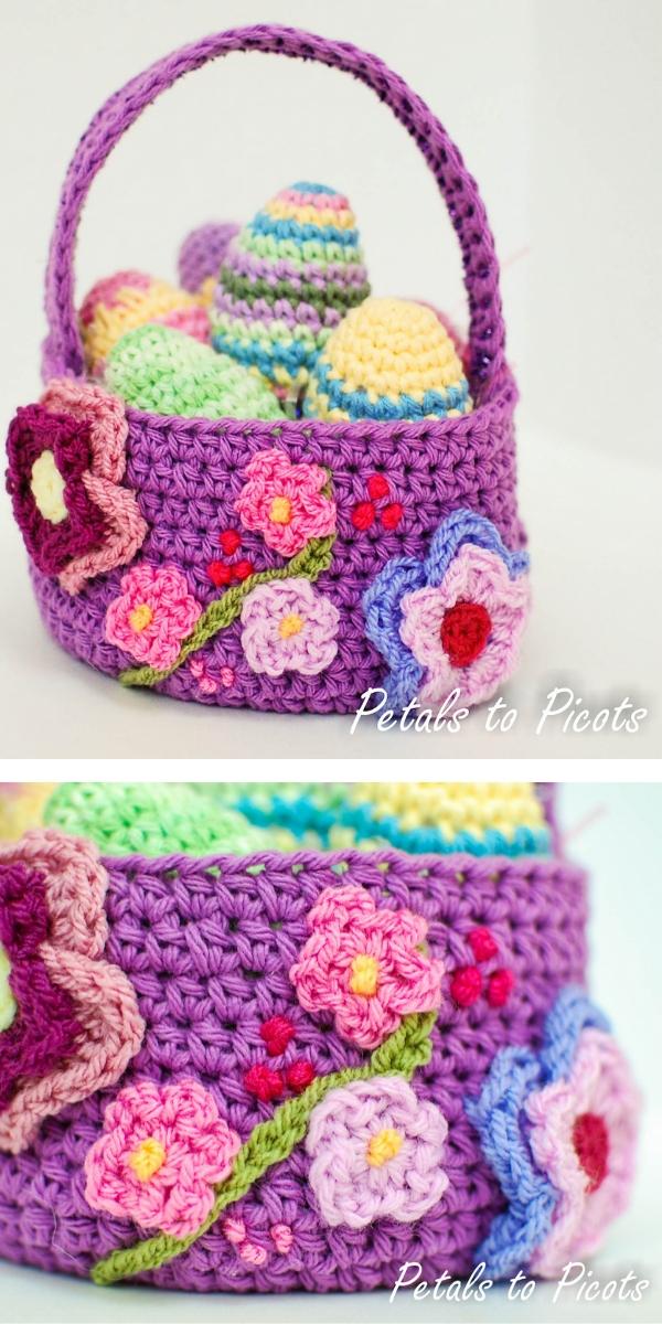 Spring Basket/ Easter Basket Free Crochet Pattern