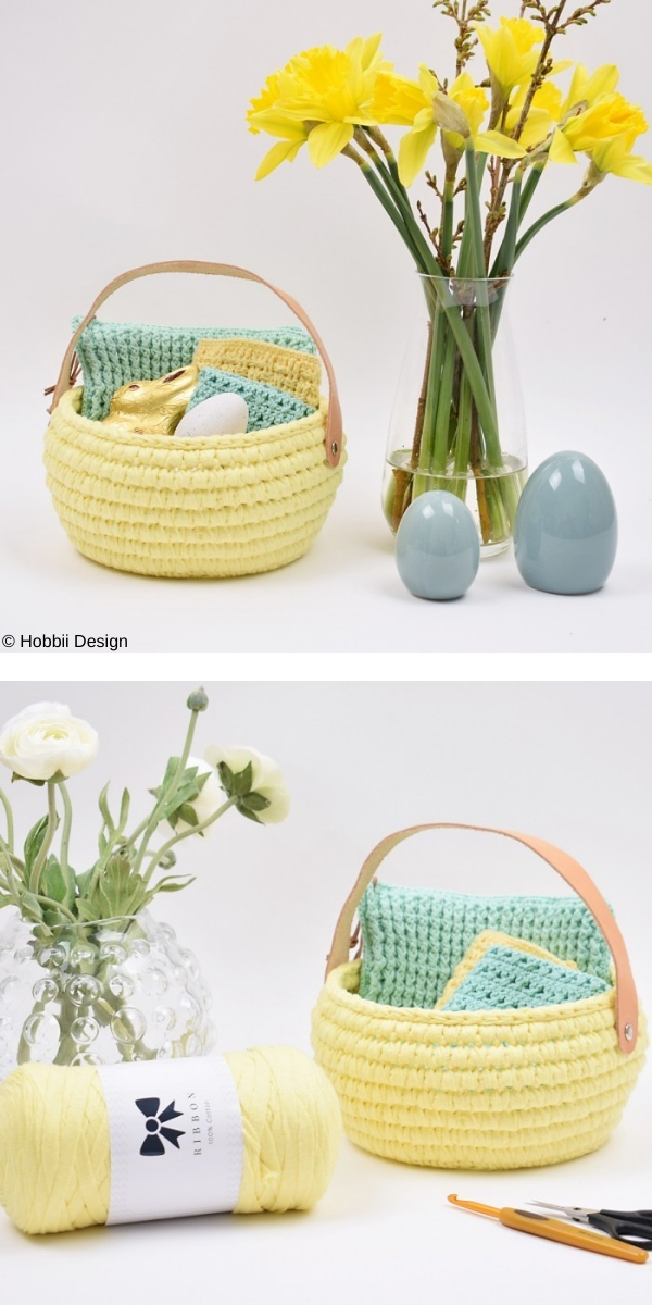 Ribbon Easter basket with leather handle Free Crochet Pattern