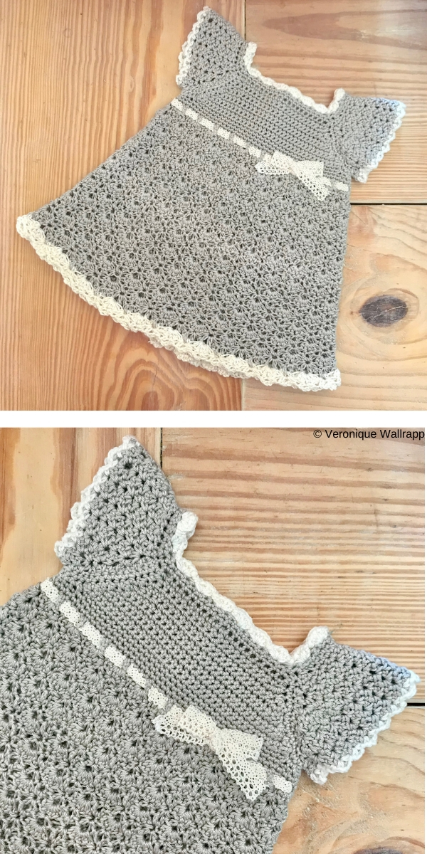 Gray & Cream Baby Girl Crochet Dress Free Crochet Pattern