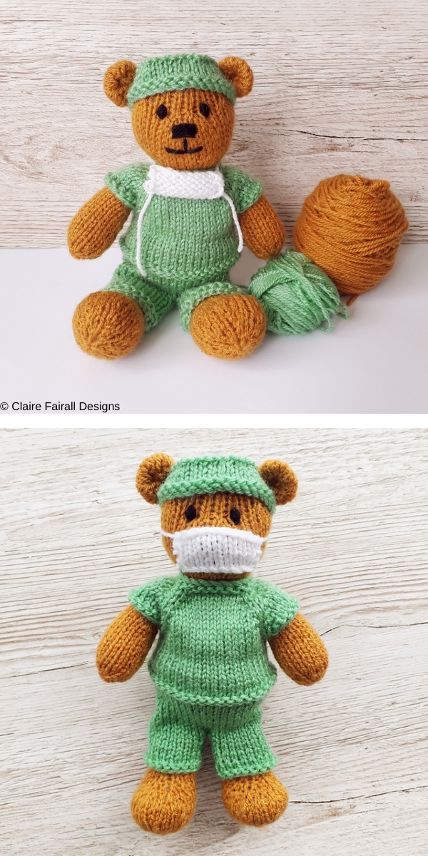 Little Doctor Bear Free Knitting Pattern