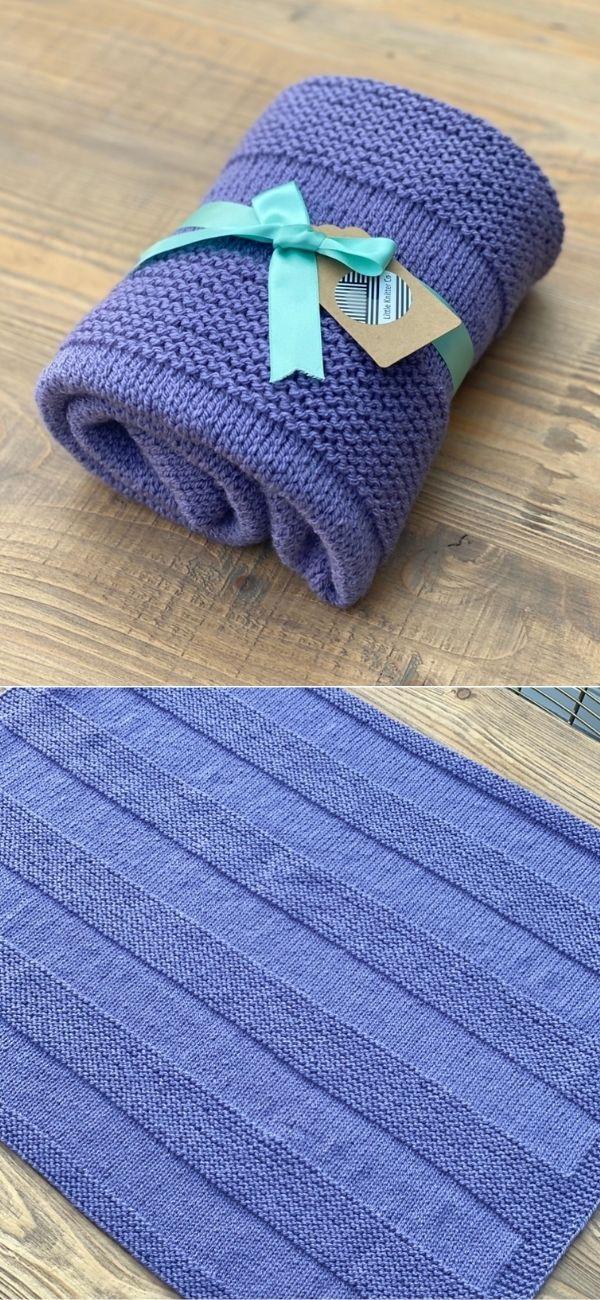 Aran garter stripe baby blanket